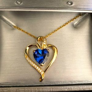 HEART SHAPED BLUE & WHITE SAPPHIRE HEART PENDANT